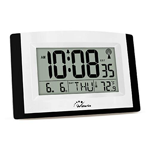 WallarGe LCD Digital Wall Clock, Atomic Alarm Clock with Fold Out Stand, Radio Controlled, Battery Operated, Easy to Read Time, Date, Day of The Week and Temperature.