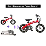 Dakoliving 2-in-1 Balance Bike to Pedal Bicycle Kit with Adjustable Handlebar and Seat Ages 3-7 Years (12X, Red)