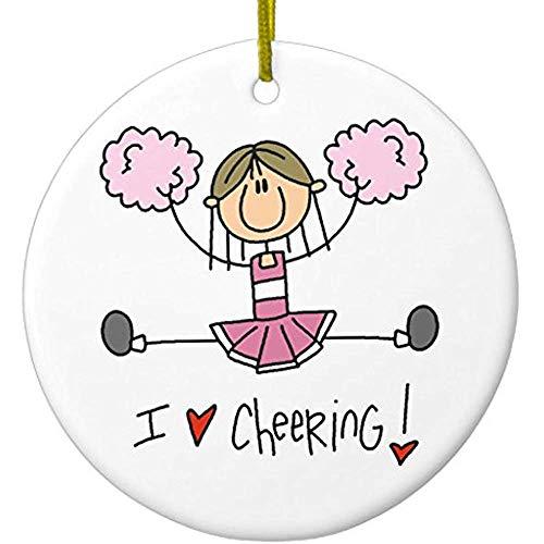 - Cheyan Pink Stick Figure Cheerleader T-Shirts and Gifts Ceramic Ornament Circle
