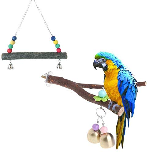 Wood Perch Birds Stand Holder Colorful Birds Cage Hammock Swing Hanging Toy with Bells(Pack of 3) -