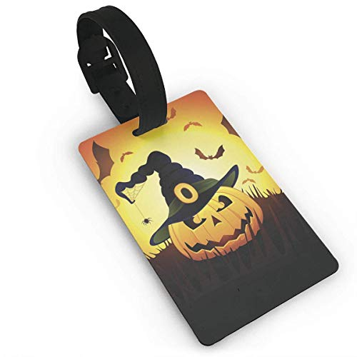 GTdgstdsc Happy Halloween Pumpkin Luggage Tags Suitcase Business Card Travel ID Identity Card Pack Bag Labels PVC Size 2.2'' X 3.7''
