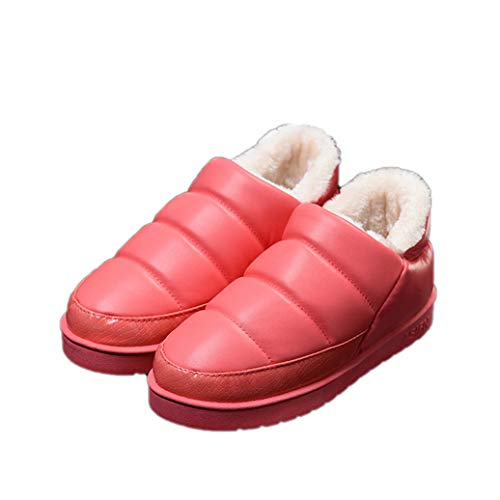 GenePe Winter Indoor Women Slippers Cotton Warm Waterproof Belt Fur Platform Winter Shoes Female Shoes Men Slippers