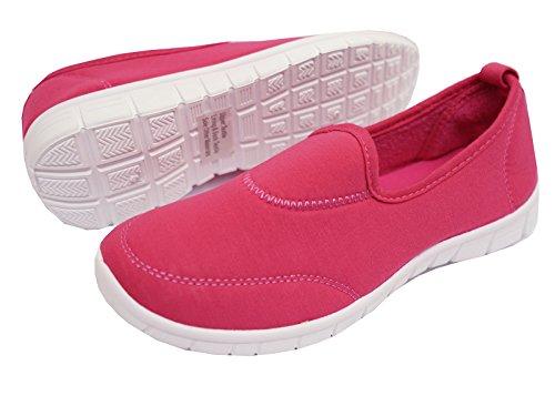 HeelzSoHigh Damen Hot Pink Zum Reinschlüpfen Memory Foam Komfort Wanderschuhe Turnschuhe Pumps Schuhe Size 4