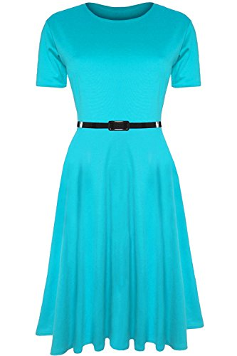 Womens Belted Cap - Womens Ladies Plain Belted Cap Sleeve Flared Swing Midi Skater Dress Plus Size