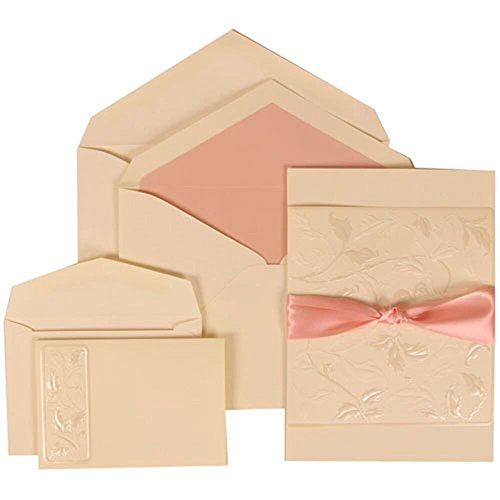 JAM Paper® Wedding Invitation Combo Set - 1 Small & 1 Large - Ivory Card with Pink Lined Envelope and Falling Leaves Ribbon - 100/pack by JAM Paper