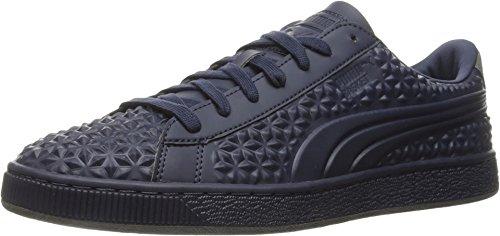 PUMA Men's Basket Classic Dia Emboss Fashion Sneaker, Peacoat/Peacoat, 12 M US (Dia Baskets)