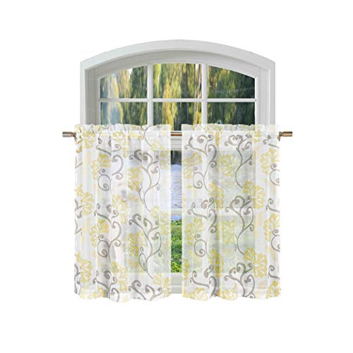 (Bathroom and More Collection Sheer Yellow, Taupe and Off-White Café/Tier Curtain Set: Floral Vine Design (Pair (2) Tiers 24in L Each))