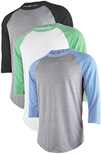 TL Men's Active Basic 3/4 and Long Sleeve Baseball Raglan Crew Neck Shirt SET3_WHGRN_LGRBK_LGRBLU 2XL