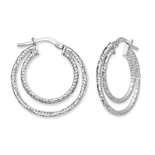 LeCalla Sterling Silver Jewelry Diamond-Cut Double Circle Click-Top Hoop Earring for Women Teen