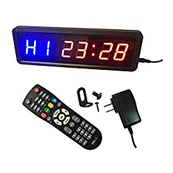 Ledgital Gym Timer 1.5 High Character Interval Clock for Workouts Size 11x3.5x1.4inch w/Remote Indoor ONLY (Blue+Red Character)