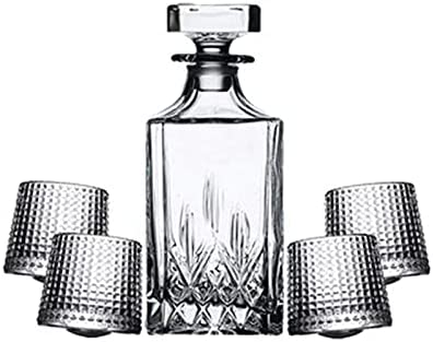 Whisky Decanter & Whisky Glasses Set para Bourbon Scotch Whisky Cocktaws - Viejos Tumblers Vasos Decantador De Whisky (Color : Clear, Size : 5 Piece Set)