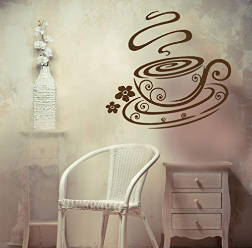 Vinyl Decal Demitasse Coffee Cup Aroma Taste Kitchen Unique Wall Decal and Stick Wall Decals