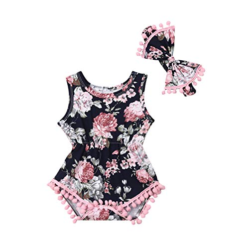 Infant Baby Girls Floral Pompom Tassels Romper Bodysuit Sleeveless Jumpsuit Outfit with Headband Summer Clothes (Floral-Pink+Navy Blue, 6-12 -