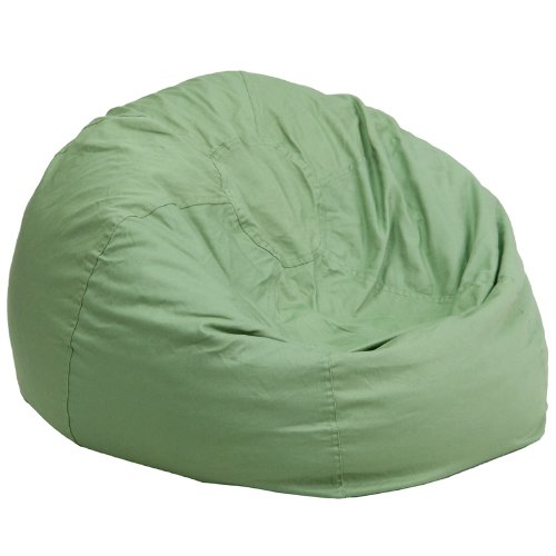 Flash Furniture Oversized Solid Green Bean Bag Chair (Large Vinyl Bean Bag)