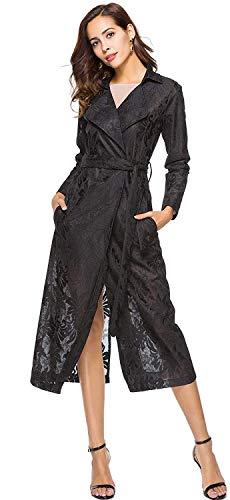Cappotto Cintura Pizzo Schwarz Casual Autunno Primaverile Lunga Floreale Moda Donna Cappotti Abbigliamento Giaccone Inclusa Manica Trench Elegante Prospettiva URTZy