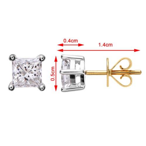 Revoni Bague en or jaune 18carats 3/4carat Diamant coupe princesse certifié J/SI Boucles d'oreilles clous