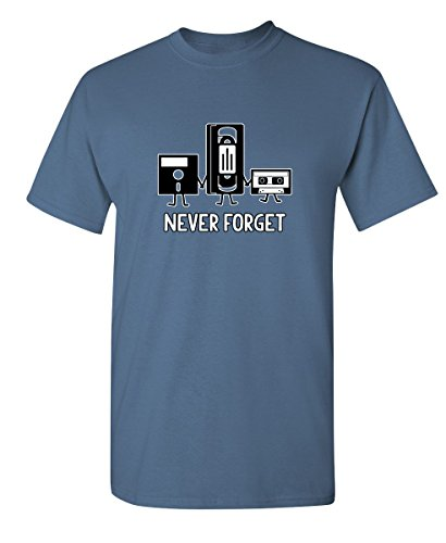 Never Forget Funny Retro Music Mens Novelty Funny T Shirt XL Dusk ()