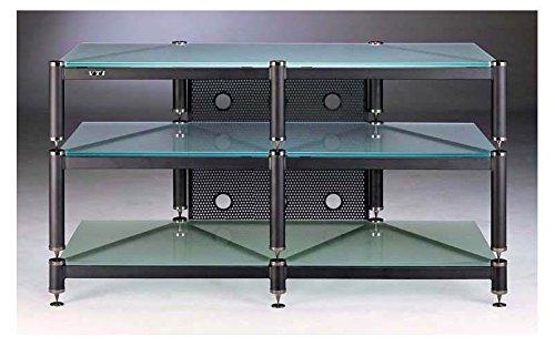 BLG Series TV Stand in Black w Frosted Glass Shelves ()