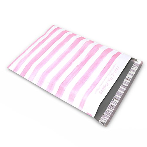 """[ 100-10"""" X 13"""" ] Pink Watercolor Stripes Design Custom Poly Mailer Envelope Shipping Bags, Tear Proof & Powerful Self Seal Adhesive Postal Bags (Other Designs Available) - Pack It ()"""