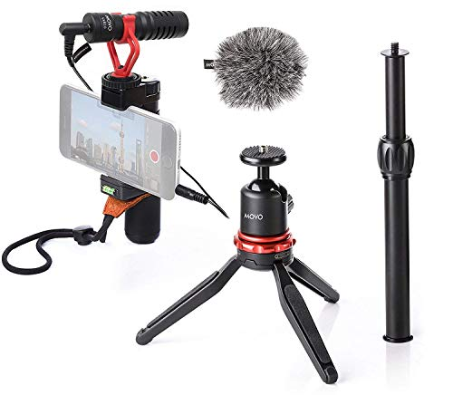Movo Smartphone Video Rig with Mini Tripod, Grip Handle and Shotgun Microphone for iPhone 5, 5C, 5S, 6, 6S, 7, 8, X, XR, XS Max Samsung Galaxy Note - Perfect Vlog, YouTube, ASMR Mic - iPhone Video Kit
