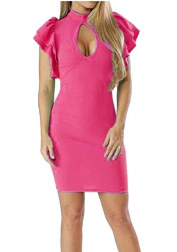 Sexy Dress Hollow Ruffle Club Short Jaycargogo Women's 2 Bodycon Sleeves Out OqRAcw5
