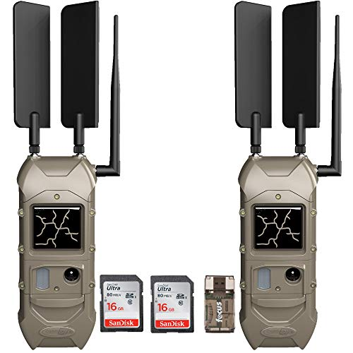 Cuddeback CuddeLink 20MP Dual Cell Trail Camera 2-Pack with Memory Cards and Focus USB Reader Bundle | 1/4 Sec Trigger Speed, No-Glow Black Flash and Long Range IR Options