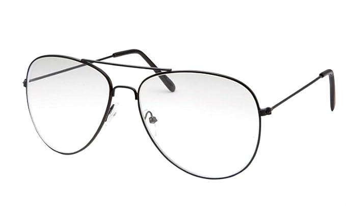 WebDeals - Clear Lens Aviator Eyeglasses Classic Retro Metal Frame (Black 97898f26f01