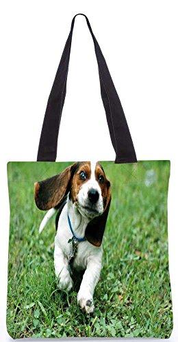 """Snoogg Laufender Hund Tragetasche 13,5 X 15 In """"Shopping-Dienstprogramm Tragetasche Aus Polyester Canvas"""
