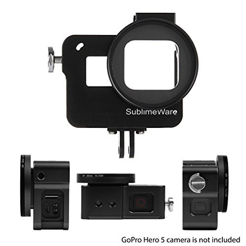 - Aluminum Case Frame (Black) for GoPro Hero 7 Black Hero 6 Hero 5 with 52mm UV Filter Skeleton Housing with Microphone Mic Mount for Go Pro Hero7 Black Hero6 - Best Protection for GoPro by SublimeWare
