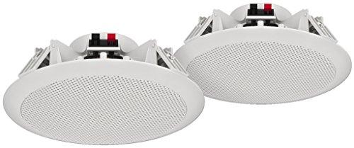 MONACOR SPE-284/WS Weerbestendige ELA plafondluidsprekerpaar met 2-wegsysteem en hoge tonen, plafondinbouwluidspreker…