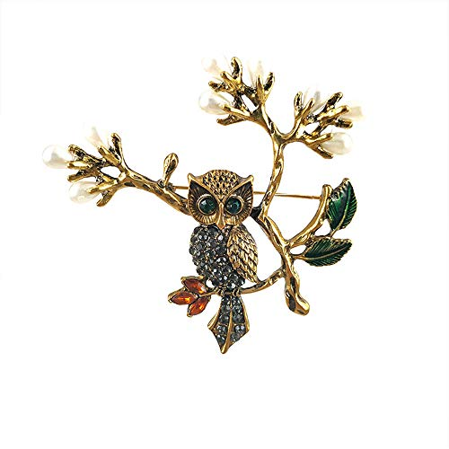 Antique Gold Color Crystal Owl Green Enamel Leaves Vintage Women Brooch Fashion Jewelry (Gold)
