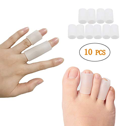 Jrery Finger Sleeves Protector Thumb Protection 5 Pairs - Silicone Gel Soft Finger Splint Support for Arthritis Basketball Trigger Finger Corn Blister Pain Relief