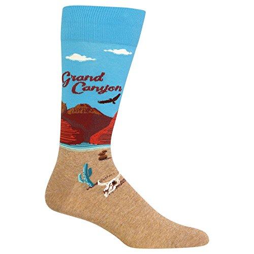 (Hot Sox Men's Travel Series Novelty Crew, Grand Canyon (Light Blue), Shoe Size: 6-12 (Sock Size: 10-13))