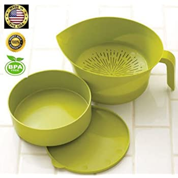 Kitchen Strainer Set Plastic Green 3 Pc High Quality Colander Storage Bowl  with Handle
