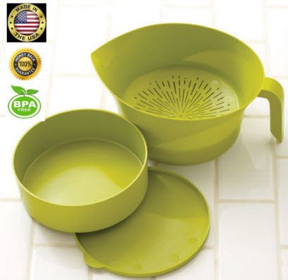 - Kitchen Strainer Set Plastic Green 3 Pc High Quality Colander Storage Bowl with Handle