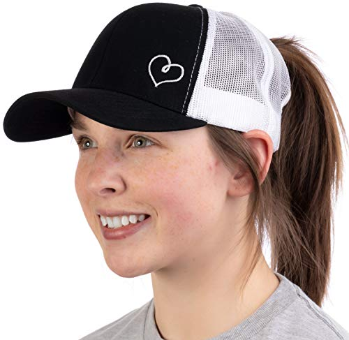 Heart Stitch | Ponytail Trucker Hat, Cute Boating Lake Beach Pool Pony Tail Cap-Black
