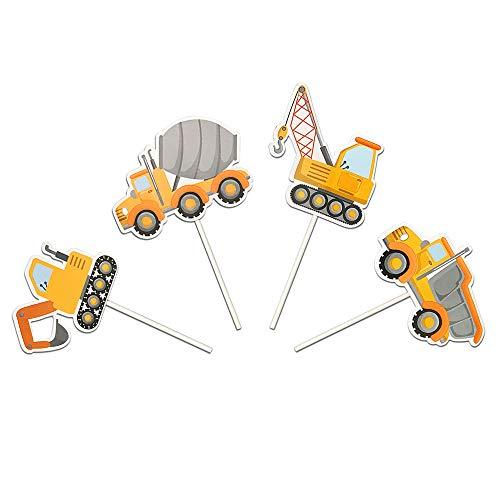 Price comparison product image Construction Vehicles Truck Cake Cupcake Toppers for Birthday Wedding Baby Shower Party Decorations 32 PCS