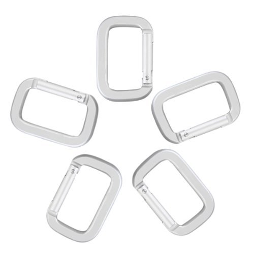 Keychain-SODIAL(R) 5 X Snap Rectangle Keychain Silver Climbing Mountaineering Hiking