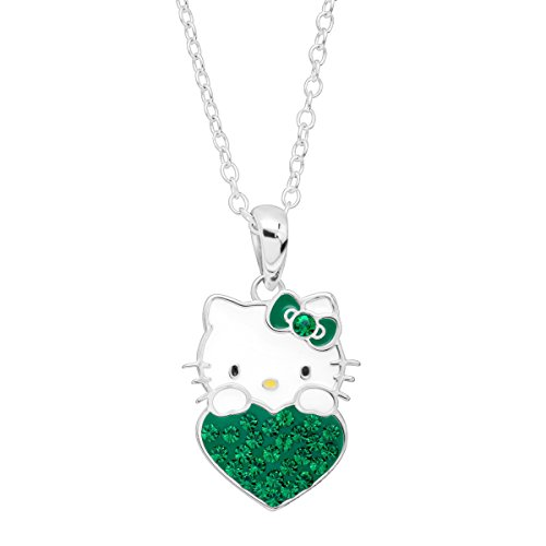 Finecraft Girl's Hello Kitty May Heart Pendant Necklace with Crystals in Sterling Silver-Plated Brass