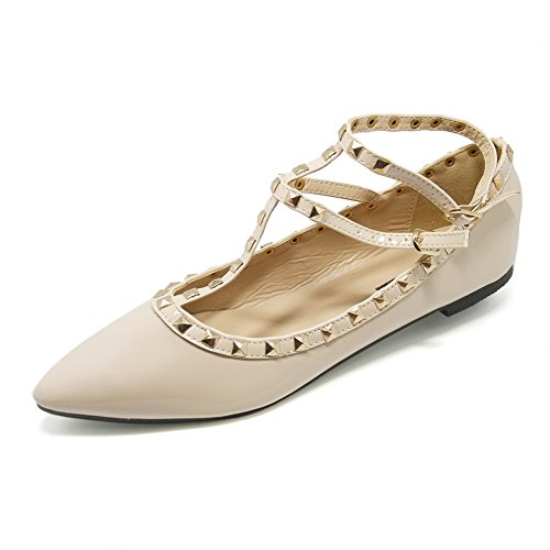 Womens Pointed Stiletto PU Fashion Pumps with Rivets Apricot - 6
