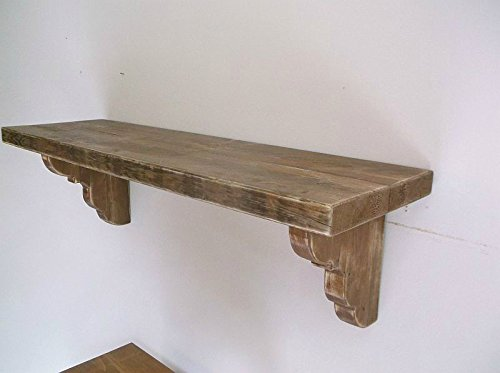 Thick Solid Wood 60'' Floating Farmhouse Shelf with Corbels - Distressed Home Decor by The Old Rusty Goat