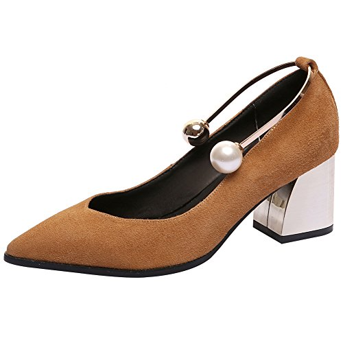 High Shoes Pumps Block Women's Tan rismart Suede Leather Pointed Toe Kitten Heels gtOOwF