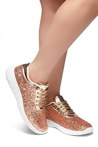 Herstyle Kvinna Kan Få Tända Mode Glitter Metallic Sneaker Platt Klack Front Snörning Lätt Ökade Guld