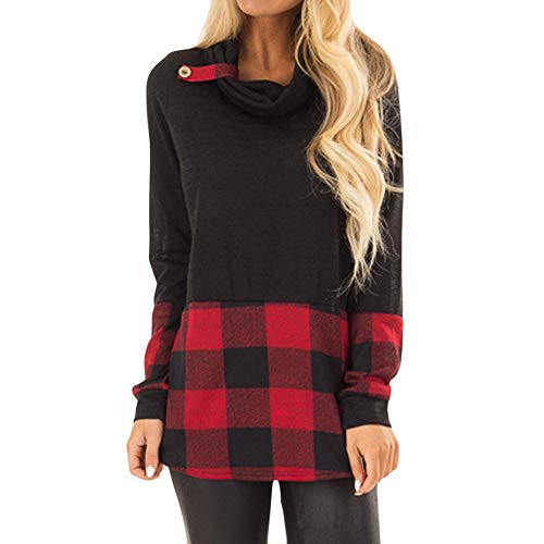 XOWRTE Women's Plaid Print Button Fall Long Sleeve Tunic T-Shirt Blouse Tops (Spoon Long Sleeve T-shirt)