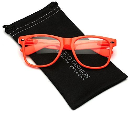 Iconic Square Horn Rimmed Clear Lens Retro Glasses (Orange, - Orange Wayfarer