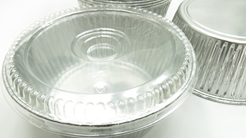 Handi-Foil Disposable Aluminum Extra Deep 10 inch Round All Purpose Baking Pan With Clear Dome Lid#1600P (10)