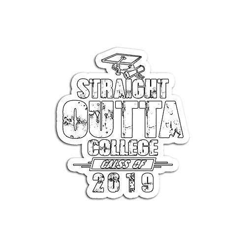 Hand Wooden Customizable Sticker Funny Straight Outta College Graduation Girls Graduates Stickers for Personalize (3 pcs/Pack) (Best Laptops For Law Students 2019)