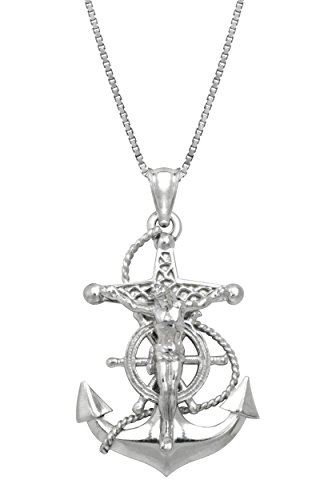 - Honolulu Jewelry Company Sterling Silver Crucified Jesus on an Anchor Necklace Pendant with 18