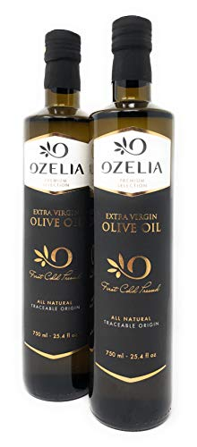 OZELIA | 2018 GOLD Medal | Award Winning Extra Virgin Olive Oil | 750ml / 25.4 fl.oz (Pack of 2) | Single Estate & Single Variety | Certified P.D.O. | Cold Pressed | 100% Traceable | GIFT Friendly Box