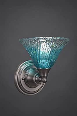 Wall Sconce w 7 in. Teal Crystal Glass Shade